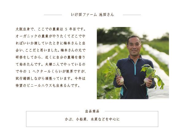 ーいけ田ファーム 池田さんー 出品商品 かぶ、小松菜、水菜などを中心に